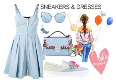 """""""Sporty Chic: Sneakers and Dresses"""" by anna-gabedava ❤ liked on Polyvore featuring Fendi, Sophia Webster, Jane Basch, Anya Hindmarch, Matthew Williamson and SNEAKERSANDDRESSES"""