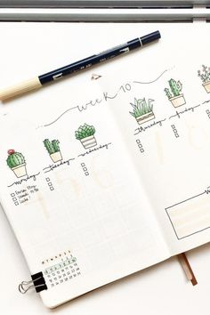 How cute is this cactus themed weekly spread?! 🌵🌵 Love it!