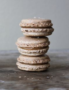 it's been a while since i've made macarons, thinking i need to add these to my repertoire // sea salt caramel macaron