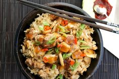Claypot chicken rice / Pollo con arroz en olla de barro