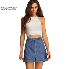 Famous Women Mini Skirts High Waist Sexy Women Pockets Blue Single Breasted Denim A-Line Skirt