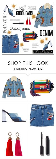 """DENIM"" by ironono ❤ liked on Polyvore featuring Gucci, Salvatore Ferragamo, Amélie Pichard, MANGO, Lanvin, Chanel, Denimondenim, polyvoreOOTD and PolyvoreMostStylish"