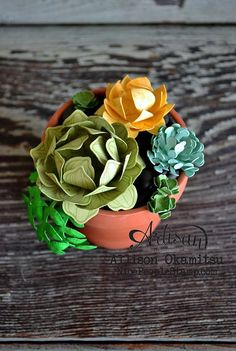 Stampin' Up! cardstock, ink, stamps, punches, and dies make the most adorable DIY paper succulents! - Allison Okamitsu