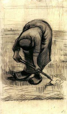 Peasant Woman Lifting Potatoes - Vincent van Gogh