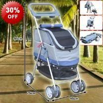 95cm Blue 3 in 1 Wheeled Pet Stroller Carrier Car Seat & Zip Cover - 3 In 1 - Stroller - Carrier - Car Seat - Canopy