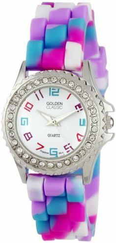 "Golden Classic Women's 2295-C ""Petite Colors Galore"" Rhinestone Encrusted Bezel Multi-Colored Silicone Watch Golden Classic. Save 45 Off!. $19.80. Water-resistant to 99 feet (30 M) - not recommended to take into deep water or shower. Multi-colored silicone band with buckle. Highest standard Quartz movement. Rhinestone encrusted silver metal bezel. White dial with multi-colored Arabic numerals; Silver and white hour, minute and second hands"