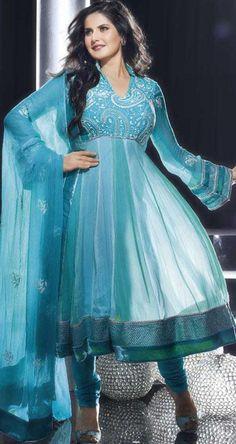 $106.86 Blue Full Sleeve Faux Georgette Long Bollywood Salwar Kameez 20422