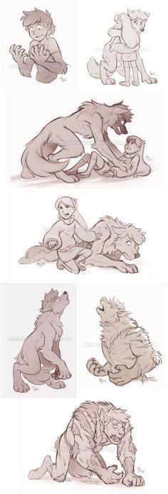 compilation of GF sketch commissions for Gin93; featuring werewolf!Dipper and werewolf!Stan from her fanfic. Also poor Mabel ;-; (I just realized I already submitted one of them before, whoopsie) -...