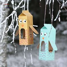 Today we drive with my Märstavän Fr .- Today we drive with my m . Toddler Crafts, Kids Crafts, Easy Crafts, Arts And Crafts, Bird Feeder Craft, Bird Feeders, Winter Crafts For Kids, Diy For Kids, Milk Carton Crafts