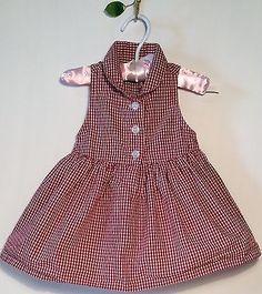 Baby Gap 3 6 Girls Summer Cotton Infant Dress Red Vintage Gingham Check SWEET