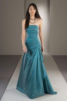 Strapless trumpet / mermaid with ruffle embellishment taffeta bridesmaid dress