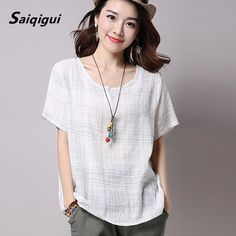 fb1350ad0b0 Saiqigui Plus Size 2017 Summer Style Women Blouses Casual Loose Cotton  Linen Blouse half Sleeve Shirts