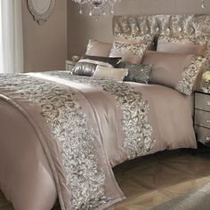 Kylie Minogue sequined cotton duvet cover in nude pink – PASX UK
