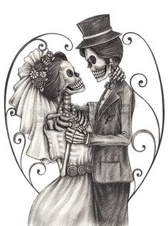 mexican hat flower: Skull art wedding day of the dead festival.Hand pencil drawing on paper.
