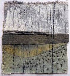 Marshscape Collage #7, Cotton duck, linen, wax, metal by Debbie Lyddon