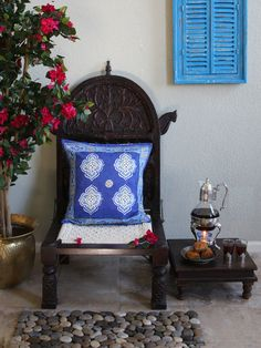 Casablanca Blues ~ Moroccan Theme Style Quatrefoil Cushion Cover Details.  Pinned not just for the cushion, but for all of the details!