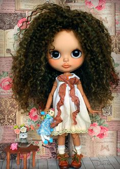 Dress for Blythe by ElDulceRincon on Etsy Pretty Dolls, Cute Dolls, Beautiful Dolls, Ooak Dolls, Blythe Dolls, Barbie Dolls, Black Kids Fashion, Dream Doll, Valley Of The Dolls