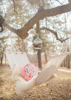 Pretty boho hammock. Perfect for a lazy autumn day.