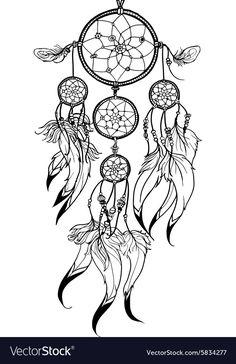 Doodle Dreamcatcher vector image on VectorStock Dream Catcher Sketch, Dream Catcher Tattoo Design, Dream Catcher Art, Atrapasueños Tattoo, Hannya Tattoo, Snail Tattoo, Native American Tattoos, Native American Art, Dreamcatcher Design