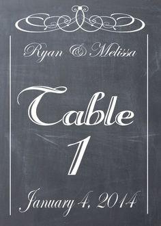 Wedding Vintage Chalkboard Table Number DIY PDF Printables