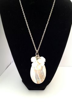 Long necklace with large Mother of pearl and shell cluster pendant - Michela Rae