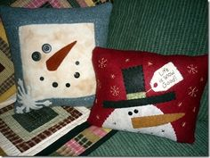 snowman quilted pillows