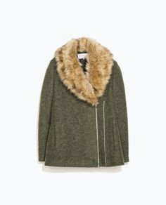 {ZARA TRF Coat with Faux Fur Collar in khaki olive}
