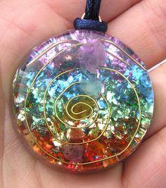 How beautiful this is. 7 Chakras Orgone Crystal Healing Pendant: mysticrocksorgone etsy