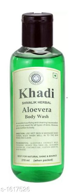 Body KHADI SHIVALIK ALOEVERA BODY WASH PACK OF 1  *Product Name* Khadi herbal Aloevera Body wash 210ml  *Brand Name* Khadi  *Product Type* Body Wash  *Product Description* Khadi Shivalik Herbal Aloevera Body Wash is not only cleanses your skin effectively but also moisturises it leaving soft & smooth. The wonderful pure natural ingredients pamper your skin even while removing all the dead skin cells and impurities that accumulate on skin due to exposure to pollution. Ingredients  *Capacity* 210 ml Each  *Package Contains* It Has 1 Pack of Khadi Herbal Body Wash  *Sizes Available* Free Size *   Catalog Rating: ★4.2 (241)  Catalog Name: Khadi Herbal Premium Body Wash Vol 2 CatalogID_210434 C52-SC1272 Code: 651-1617526-