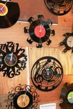 #vinylrecordclocks $49.95 Vinyl Record Clocks laser cut available at the Re-inspiration Store #atlantagiftshop