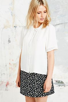 Cooperative Lace Pintuck Blouse in White