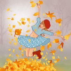 Fall into autumn Art Anime Fille, Anime Art Girl, Autumn Illustration, Woman Illustration, Cool Works, Rajasthani Art, Pottery Painting Designs, Art Painting Gallery, Kiss Art