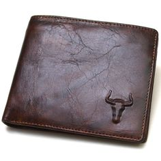 New Genuine Leather Mens Wallet  ZIPPER Coin Purse Vintage Retro Style #BlueMount #Bifold