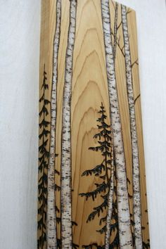 Birch Trees Art Block Wood burning by TwigsandBlossoms on Etsy by clarissa