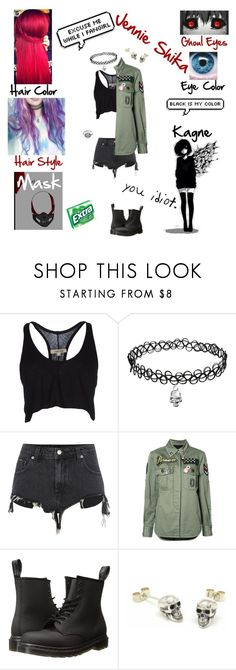 """""""Jennie Shika (Tokyo Ghoul OC)"""" by anime-loverx ❤ liked on Polyvore featuring SEN, DAMIR DOMA, River Island, Marc Jacobs, Dr. Martens and Fou Jewellery"""