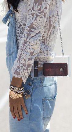 Rough denim and romantic lace.