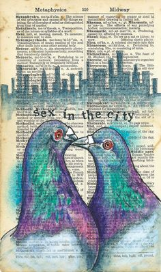Metropolis : Rhian Wyn Harrison pigeons, sex in the city Dictionary Art, Printed Pages, Bird Pictures, Book Pages, Art Journaling, Book Art, Beast, Weird, Friday