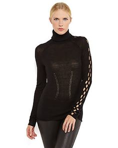 Open knit panels and delicate pointelle detailing give this turtleneck a modern appeal. #CatherineMalandrino #Sweater #C21DesignerEvents