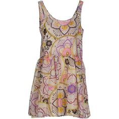 Anjuna Short Dress ($195) ❤ liked on Polyvore featuring dresses, sand, mini dress, multicolored dress, colorful dresses, multicolor dress and brown dress