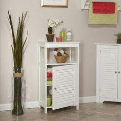 Shop for RiverRidge Home Ellsworth Single Door Floor Cabinet. Get free delivery On EVERYTHING* Overstock - Your Online Furniture Outlet Store! Get in rewards with Club O! Bathroom Standing Cabinet, Bathroom Floor Cabinets, Free Standing Cabinets, Bathroom Furniture, Bathroom Storage, Washroom, Small Bathroom, Bath Cabinets, Bathroom Wall