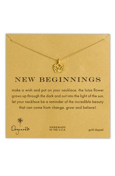 Free shipping and returns on Dogeared 'Reminder - New Beginnings' Boxed Pendant Necklace at Nordstrom.com. Sentimental necklace features a delicate lotus flower handcrafted from recycled materials.