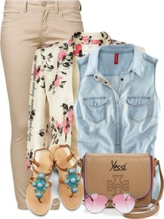 Sleeveless Button Down Shirt with Floral Blazer Cute Spring Outfit