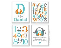 Baby Boy Nursery Art, Elephants, Alphabet, Numbers, First We Had Each Other, Teal Turquoise Orange Gray Art, Set of Four 11x14 Prints