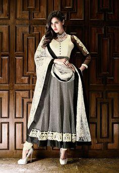 Off White and Black Faux Georgette Anarkali Churidar Kameez