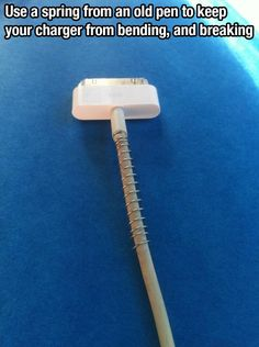 Use a spring from an old pen to keep your charging cords from bending and breaking