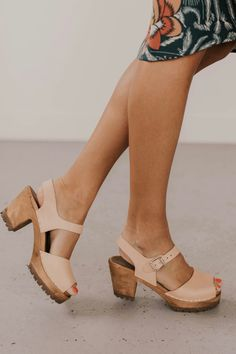 Leather Clogs with open toe and adjustable ankle strap. Chunky lugged wood heel and available in natural, luggage, and black. Clog Sandals, Clogs Shoes, Shoe Boots, Tan Sandals, Ankle Strap Heels, Ankle Straps, Cute Shoes, Me Too Shoes, Streetwear