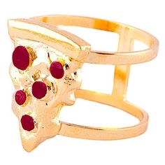 Glenda Lopez - The Pizza Ring (81 CAD) ❤ liked on Polyvore featuring jewelry, rings, red jewelry and red ring