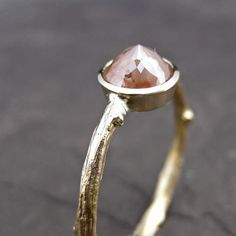 Peach Diamond Twig Ring in Yellow Gold #wedding #wed #ido