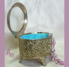 Vanity Trinket Jewelry  Box  Goldtone Floral by AtticBasement, $13.00