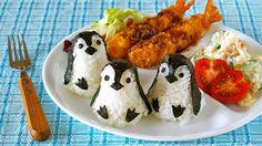 Baby Penguin Onigiri Rice Balls (One Plate Lunch / Bento Idea) - Video Recipe | Create Eat Happy :):